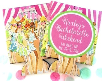 Cabana Huggers. Tropical Bachelorette or Birthday Huggies. Bachelorette Party Favors. Personalized Birthday Coolies!