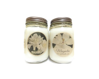 Gardenia & Magnolia Set of Two 16oz Soy Candles Apx BURN TIME 144 HOURS Each