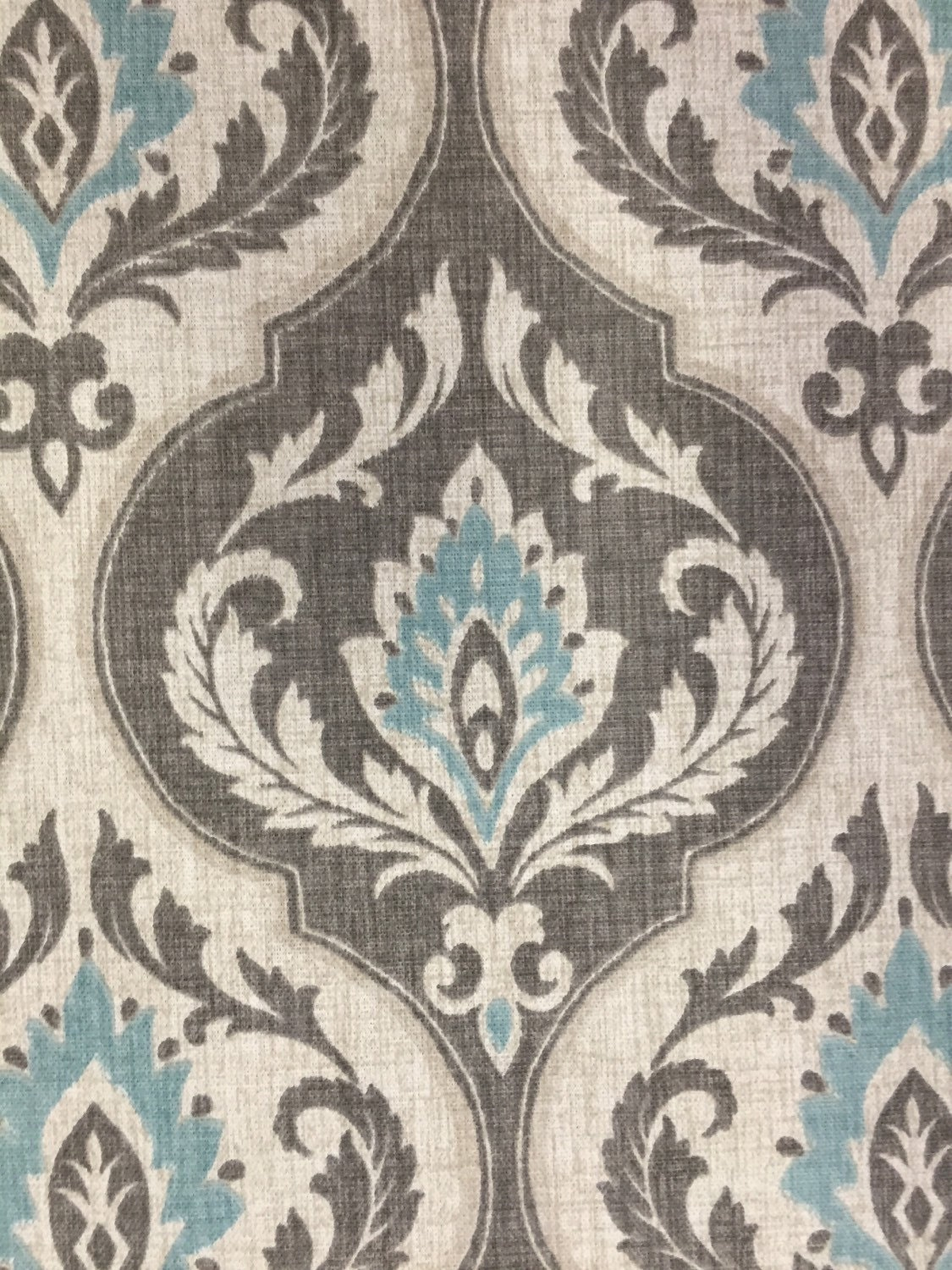 Aqua Gray Damask Fabric Modern Damask
