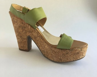 Brazilian Leather Cork Wedge Sandal