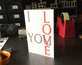 Valentine's day 'U and I' letterpress greetings card