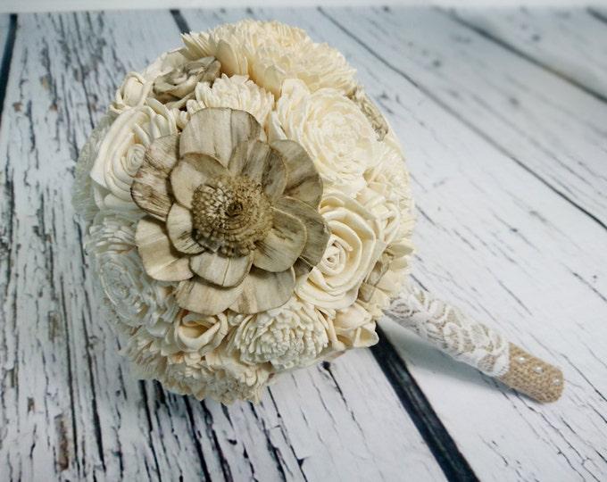 Ivory cream rustic wedding BOUQUET sola roses lace burlap
