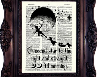 Peter Pan Quote Peter Pan and Fairy Peter Pan Decor Peter Pan Print Dictionary Page Peter Pan Best friend Gift Peter Pan Second Star C:641