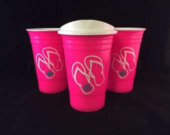 Personalized Solo Cup, Flip Flop Monogram, Monogram Solo Cup, Reusable Solo, Personalized Beach Cup, Spring Break, Party Cup, 21st Birthday