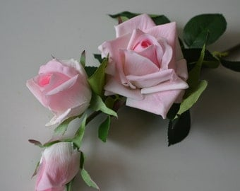 Baby Pink Real Touch Roses Open Silk Roses For Silk Wedding Bouquets Table Centerpieces 3 flowers/stem