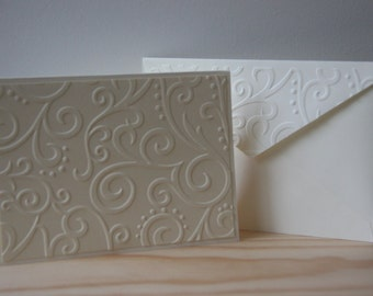 Cream Embossed Note Cards. 50,75,100 Cards. Wedding Thank You Cards. Sympathy Thank You Cards. Scroll Embossed Cards. Bulk Set. Blank Cards