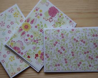 Flower Note Card Set.  Blank Note Cards.  Vintage-looking Flower Note Cards.  Flower Stationery.  Flower Card Set.  Handmade Card Set