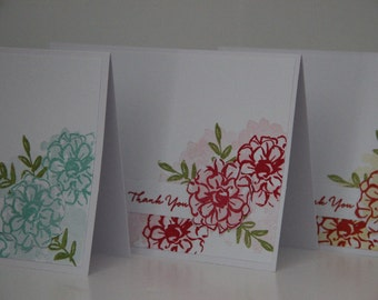 6 Flower Thank You Cards.   Greeting Card Set.  Blank Thank You Card Set.  Flower Note Cards. Handmade Greeting Cards. Thank You Cards.