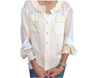 Ivory Chanel sheer ruffle silk blouse