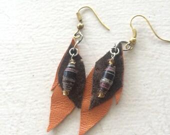 two tone recycled leather boho leaf earrings