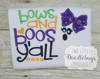 Bows and Boos Yall Halloween Shirt Little Miss Boo Ghost Shirt Embroidered Shirt Girls Ghost Shirt Toddler Shirt Halloween Shirt