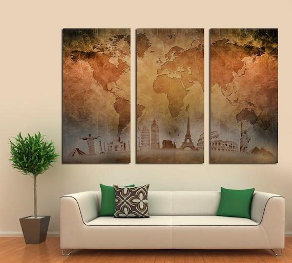 3 Panel Split Art World Map Canvas Print Triptych For: 3 Panel Split Abstract World Map Canvas Print1.5 Deep