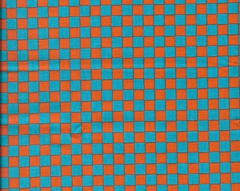New Orange and Blue Checkered 100% cotton fabric by the half yard