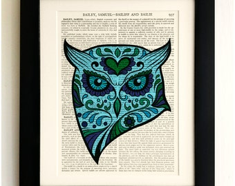 ART PRINT on old antique book page - Sugar Skull Turquoise Owl, Vintage Upcycled Wall Art Print, Encyclopaedia Dictionary Page, Fab Gift!