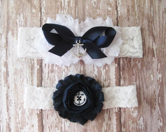 Navy and White Anchor Garter Set | Nautical Wedding Garters | Bridal Garter and Toss Garter
