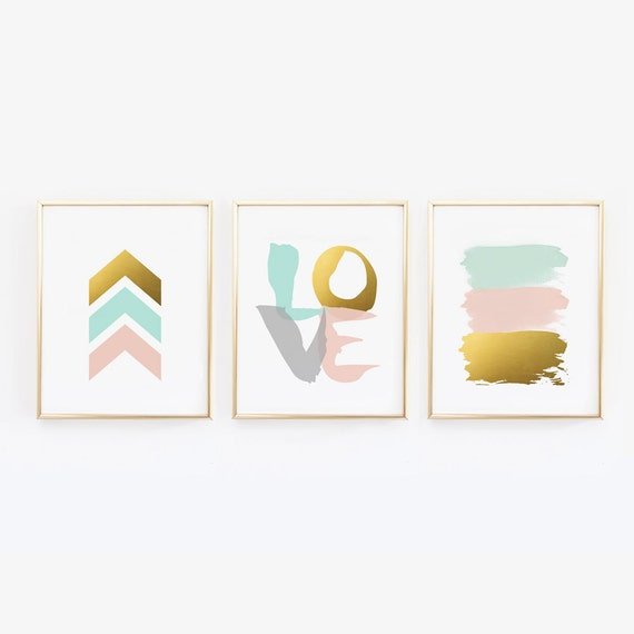 Mint Color Scheme Bedroom Pink Gold Wall Prints And