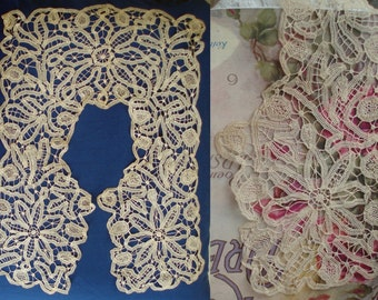 Tape Lace c1800's Antique Handmade Lace Collar  . Collectable Trim