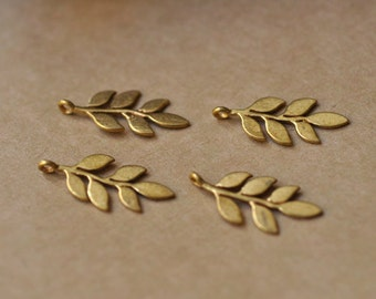 4 Delicate Gold leaf pendants / nature themed leafy branch jewelry findings P7620