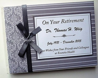 Personalised Grey Retirement/Wedding/Occassion Guest Book