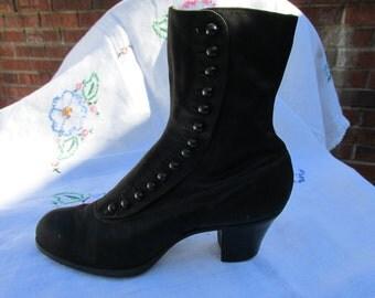 Shoe - Lady's Satin High Top Shoe - Antique