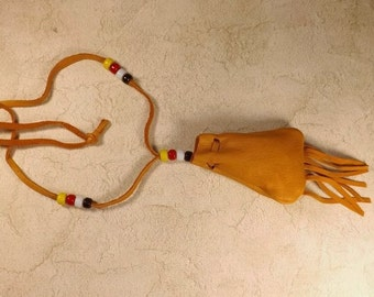Leather Medicine Bag Necklace, White Sage filled Pouch, Leather Medicine Pouch, Pow Wow's, Rendezvous, Native American Style