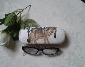 Decoupaged Glasses case ( Wolf design )