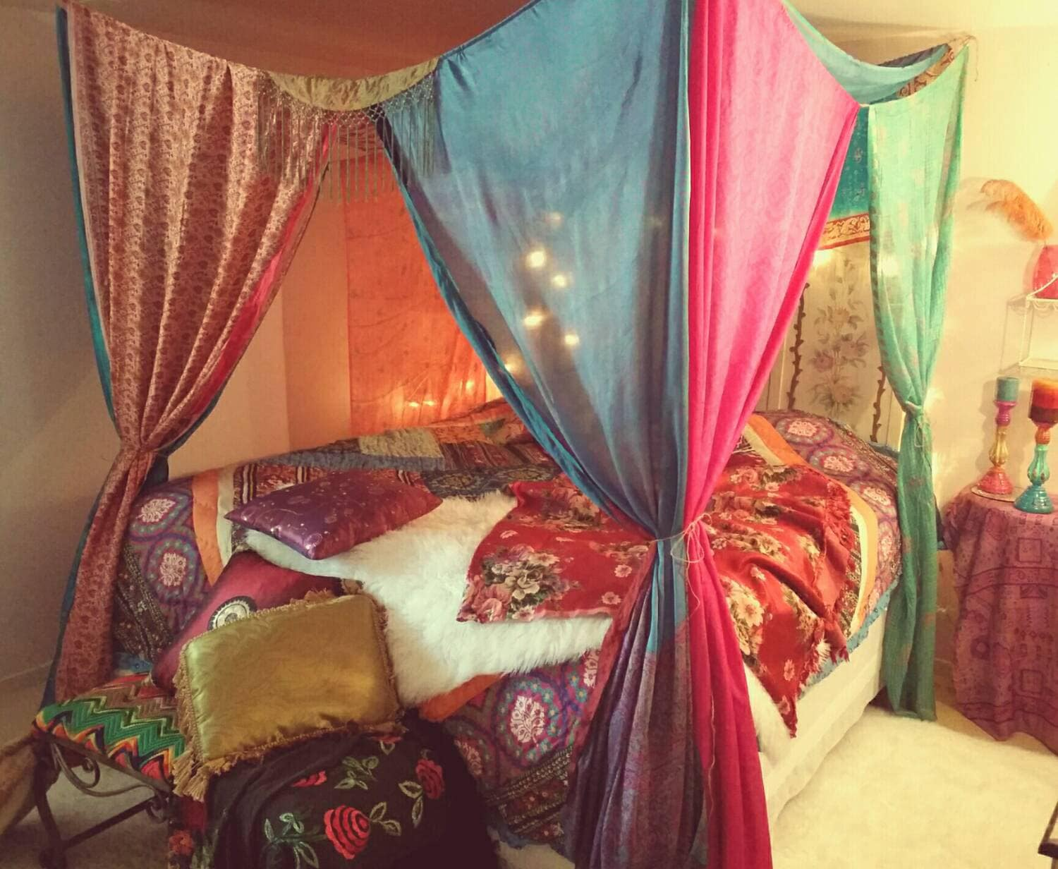 Boho Bed Canopy Gypsy Hippie Hippy India Sari Scarves Bedroom