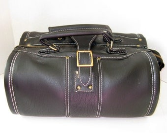 Black Valise Leather Luggage, Carry-on, gym bag, overnight, Brass Ideal Zipper