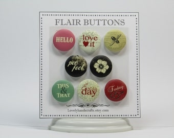 Lovely Style Flair Buttons – Set of 8