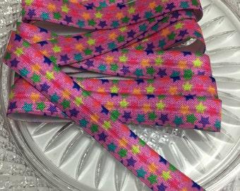 Pink w/ Multi Colored Star FOE - 3 yards of Fold Over Elastic - Hair ties - Headbands