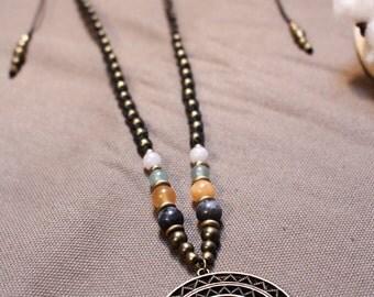 "Necklace Tribal Ethnic black macrame, bronze, beads gem ""Mani"""
