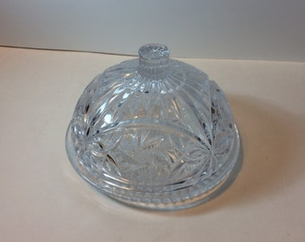 Vintage Bohemian Crystal Pinwheel and Star Cut Butter Dish with Dome Lid