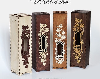 Wine box with window and decorative frame. Laser cut pattern. Instant download