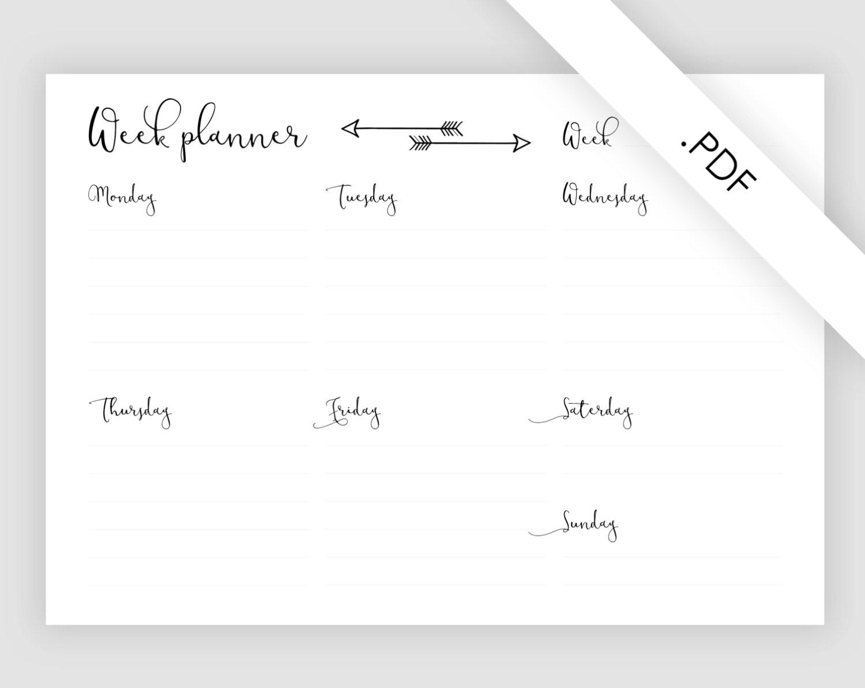 Week on one page – One Week Planner Template