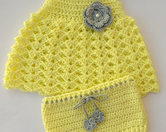 Dress and cover diaper set in crochet - Newborn to 3 months - Cute baby shower gift - Summer dress