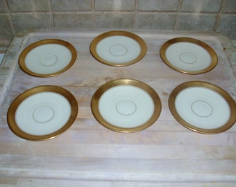 6 Vintage Lenox 4 1/2 inch saucers