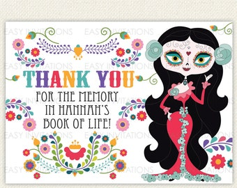 Sugar Skull Thank You Card Day Of The Dead Dia de los Muertos Printable Digital Halloween quinceneara sugarskull