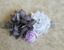 Gray & Lavender Newborn Headband - Lavender Birthday Theme - Lavender Cake Smash Prop - Gray Headband - Toddler Headband - Occasion Headband
