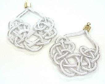Kesa-knot Earrings with Japanese Mizuhiki Charms - Japanese Earrings (Made-in-Japan)