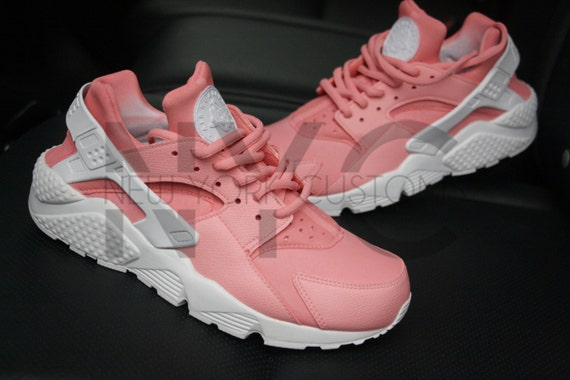 soft pink nike huarache run triple white custom by nycustoms. Black Bedroom Furniture Sets. Home Design Ideas