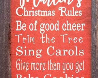 Christmas decoration, Christmas sign, Christmas decor, personalized Christmas sign, personalized Christmas decor, Christmas rules sign, 249