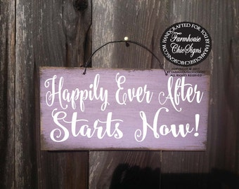 happily ever after starts now, wedding sign, wedding decor, wedding decoration, ring bearer sign, happily ever after sign