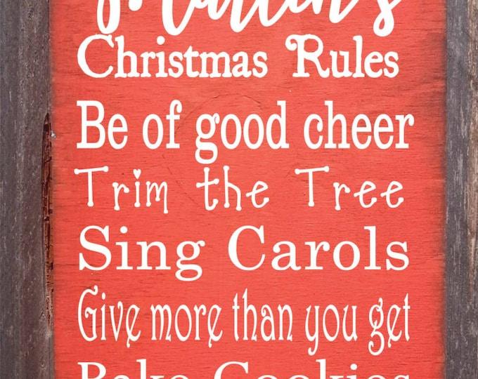 Christmas decoration, Christmas sign, Christmas decor, personalized Christmas sign, personalized Christmas decoration, Christmas rules sign