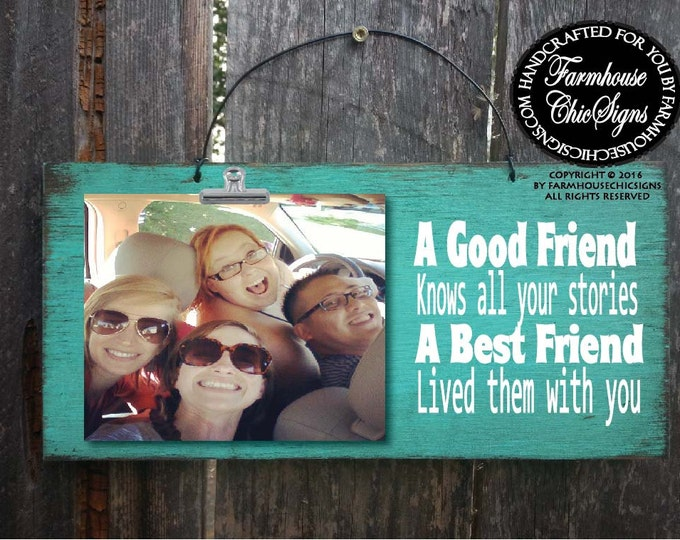 friend gift, gift for friend,best friends, best friend gift, best friends picture frame,  Picture Frame, Rustic picture frame, 188