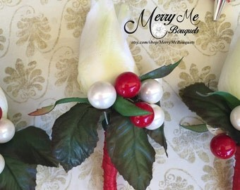 Red and White Boutonniere - Rose Boutonniere - Rose Buttonhole - Red White Rose Boutonniere - Magnetic Boutonniere - Rose Lapel Flower