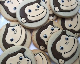 12 CURIOUS GEORGE monkey inspired cookies - go Bananas cookies - Birthday party - boy girl monkey party favors - baby shower