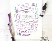 Bible Verse Art, Watercolor Scripture Print, Purple, Ephesians 3:18, Love, Personalized Print, Baby Blessing, Girl's Room, Name Art, P8EPH3
