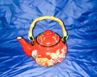 Pier 1 Red Tea Pot with peonies hand painted on.
