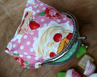 Coin purse, Special gift for food loving mom, aunt, daughter, Foody gift, Small womens wallet, Anniversary present wife, Lipstick organizer