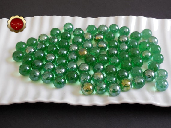 Green Glass Marble : Green marbles iridescent glass marble decorative